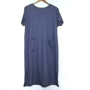 Artisan Linen Periwinkle Blue Cottagecore Dress
